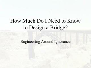 How Much Do I Need to Know to Design a Bridge?