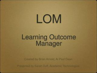 LOM Learning Outcome Manager
