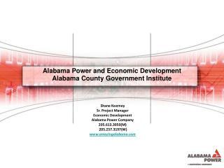 Alabama Power and Economic Development  Alabama County  Government Institute