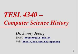 TESL 4340 �  Computer Science History