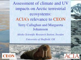 Assessment of climate and UV  impacts on Arctic terrestrial ecosystems: