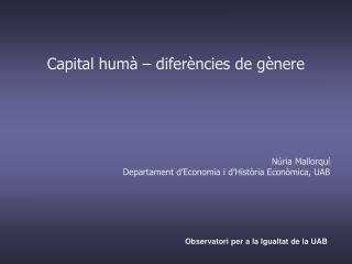 Capital humà – diferències de gènere