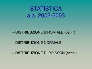 STATISTICA a.a. 2002-2003