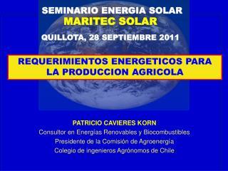 PATRICIO CAVIERES KORN Consultor en Energías Renovables y Biocombustibles