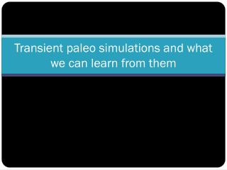 Transient paleo simulations and what we can learn from them