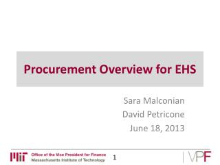 Procurement Overview for EHS