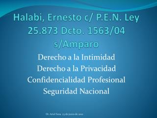 Halabi , Ernesto c/ P.E.N. Ley 25.873  Dcto . 1563/04 s/Amparo