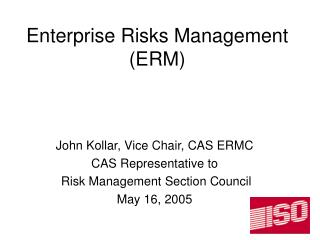 Enterprise Risks Management (ERM)