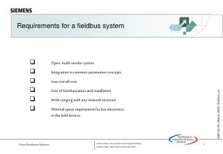 Requirements for a fieldbus system