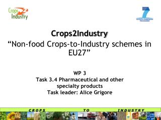 WP 3 Task 3.4 Pharmaceutical and other  specialty products Task leader: Alice Grigore