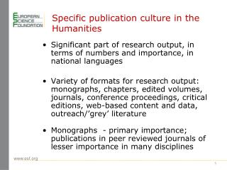 Specific publication culture in the Humanities