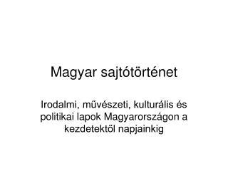 Magyar sajtótörténet