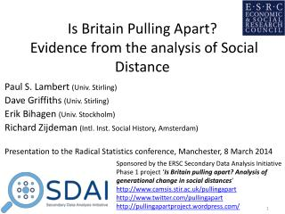 Is Britain Pulling Apart?  Evidence from the analysis of Social Distance
