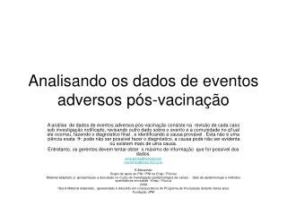 Analisando os dados de eventos adversos pós-vacinação