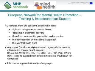 European Network for Mental Health Promotion – Training & Implementation Support