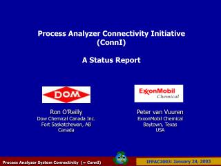 Process Analyzer Connectivity Initiative (ConnI) A Status Report