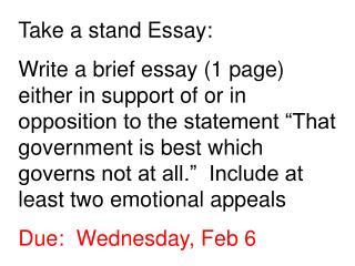 Take a stand Essay: