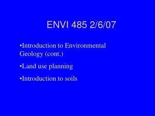 ENVI 485 2/6/07