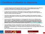 Conditions d utilisation du diaporama