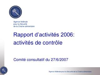 Rapport d'activités 2006:  activités de contrôle