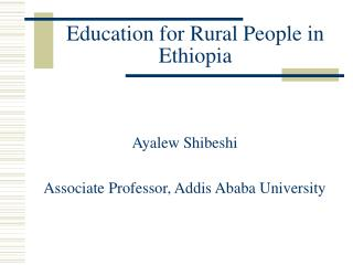 Education for Rural People in Ethiopia