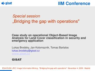 "Special session ""Bridging the gap with operations"""