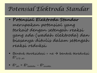 Potensial  E lektroda  S tandar