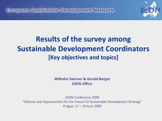 Results of the survey among Sustainable Development Coordinators [Key objectives and topics]