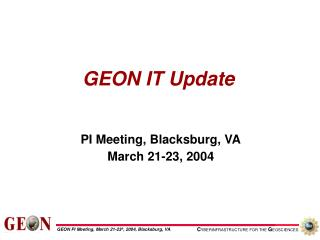 GEON IT Update