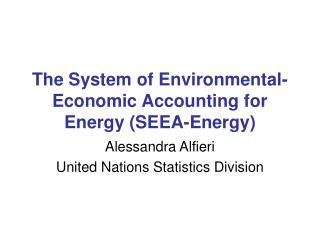 The System of Environmental-Economic Accounting for Energy (SEEA-Energy)