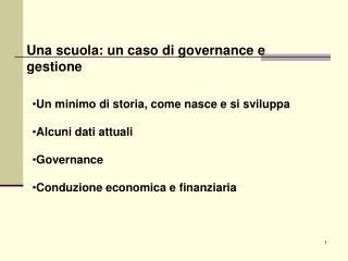 Una scuola: un caso di governance e gestione