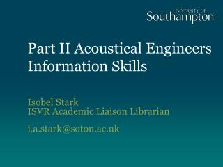 Part II Acoustical Engineers  Information Skills