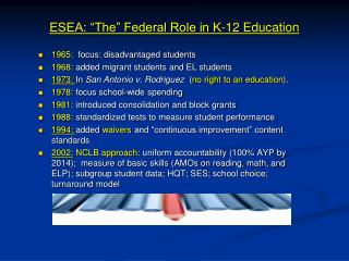 "ESEA: ""The"" Federal Role in K-12 Education"