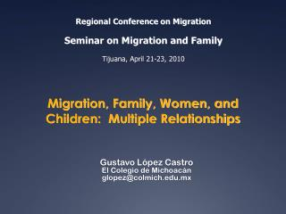 Migration, Family, Women, and Children:  Multiple Relationships
