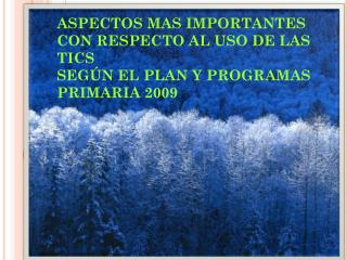 ASPECTOS MAS IMPORTANTES CON RESPECTO AL USO DE LAS TICS SEGÚN EL PLAN Y PROGRAMAS PRIMARIA 2009