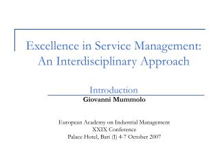 Excellence in Service Management: An Interdisciplinary Approach Introduction