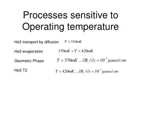 Processes sensitive to Operating temperature