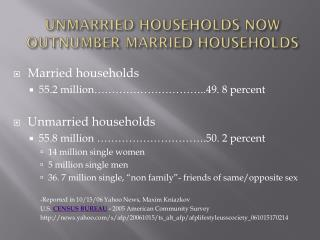 UNMARRIED HOUSEHOLDS NOW OUTNUMBER MARRIED HOUSEHOLDS