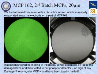 MCP 162, 2 nd  Batch MCPs, 20µm