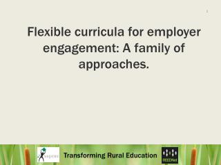 Flexible curricula for employer engagement: A family of approaches.
