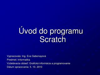 Úvod do programu Scratch