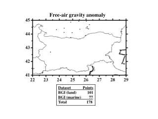 Dataset            Points BGI (land)           101 BGI (marine)        77