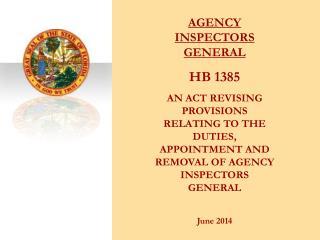 AGENCY INSPECTORS GENERAL HB 1385