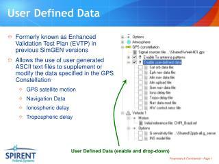User Defined Data