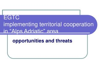 "EGTC implementing territorial cooperation in ""Alps Adriatic"" area"