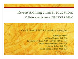 Carla E. Randall, PhD, RN, principle  investigator  Research team: Allison Haynes, BS, RN Kristiina Hyrkas, PhD, LicNSc,