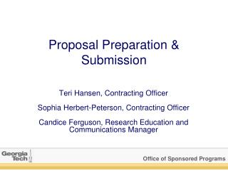 Proposal Preparation & Submission