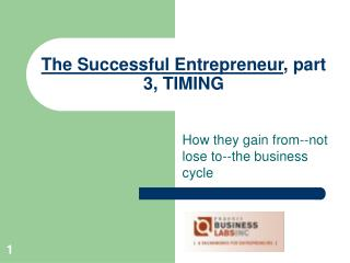 The Successful Entrepreneur , part 3, TIMING