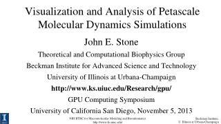 Visualization and Analysis of Petascale Molecular Dynamics Simulations
