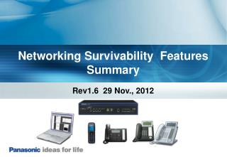 Networking Survivability  Features Summary